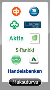 Maksuturvan maksuvaihtoehdot: verkkopankit (Nordea, Osuuspankit, Sampo Pankki, Aktia, Paikallisosuuspankit, Säästöpankit, Handelsbanken, Ålandsbanken, Tapiola Pankki ja S-Pankki)